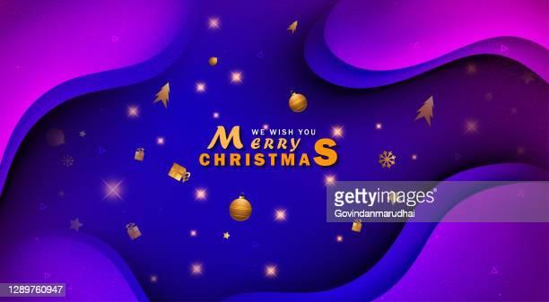 blau und lila weihnachten hintergrund mit rand aus ausschnitt goldfolie sterne und silber schneeflocken - gift lounge stock-grafiken, -clipart, -cartoons und -symbole