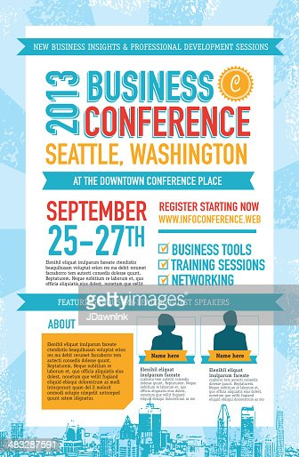 blue and red business conference poster design template high-res vector graphic
