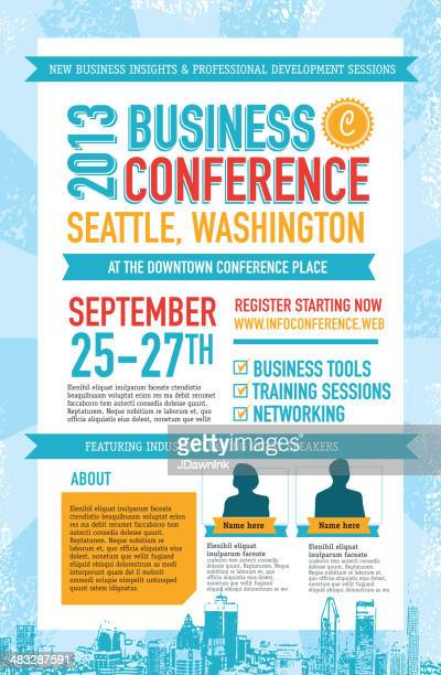 Blue and red Business Conference poster design template