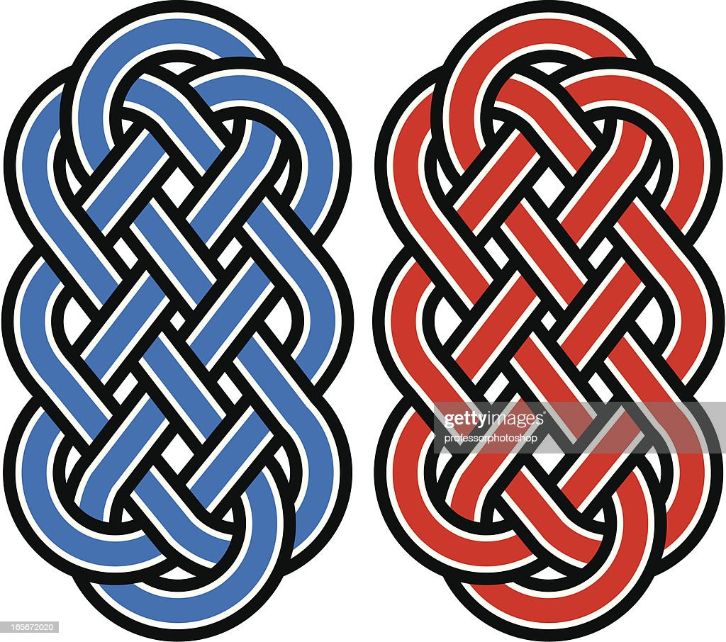 Blue and red Celtic knots isolated on a white background
