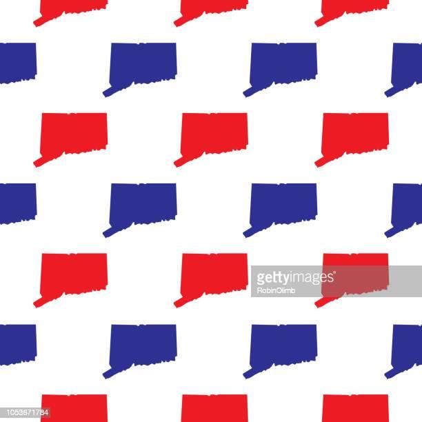 青と赤のコネチカットのシームレス パターン - コネチカット州ハートフォード点のイラスト素材/クリップアート素材/マンガ素材/アイコン素材