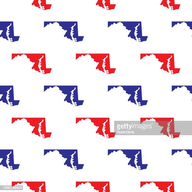 Blue And Red Maryland Seamless Pattern