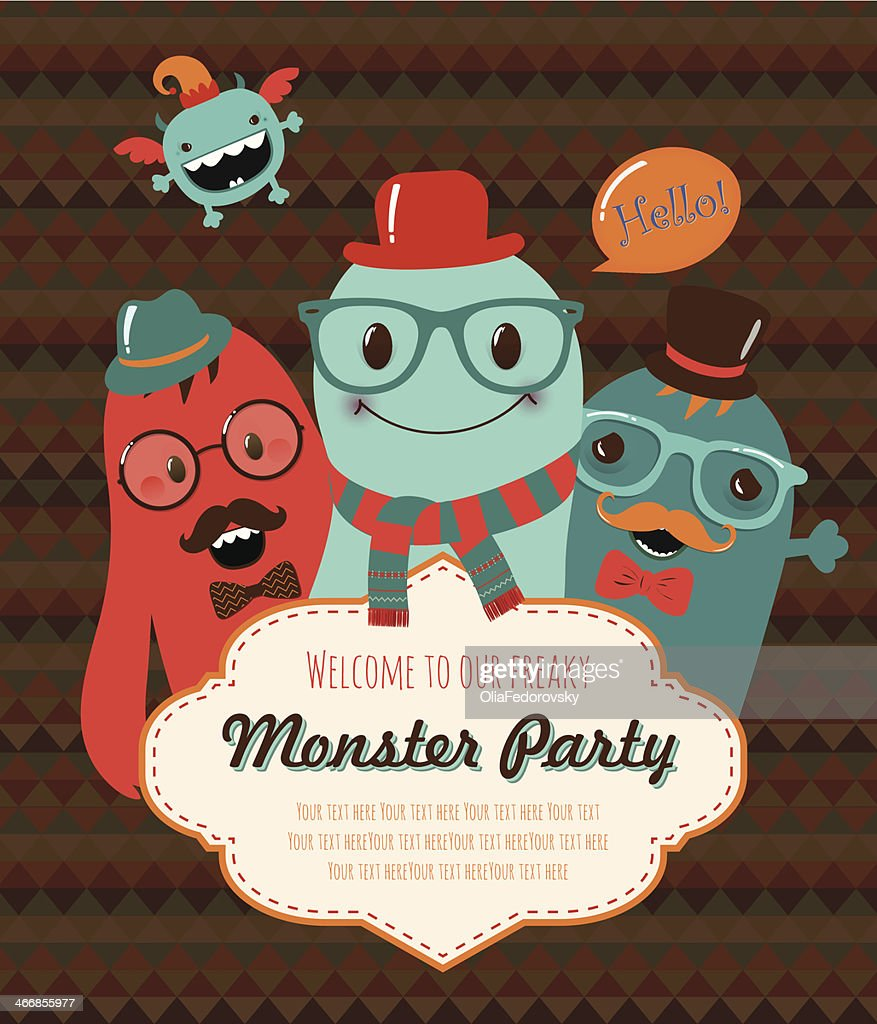 Blue and red monster party invitation design