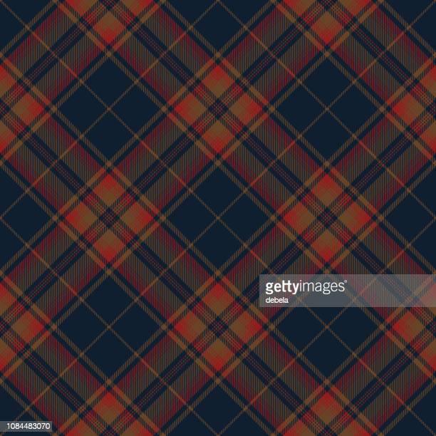 青と赤のスコットランドのタータン チェック柄の織物のパターン - アーガイル模様点のイラスト素材/クリップアート素材/マンガ素材/アイコン素材