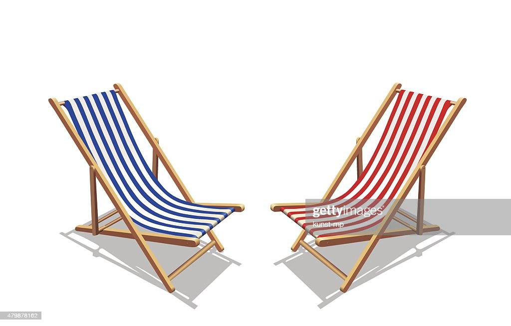 Blue and red stripes deckchair, and shadows