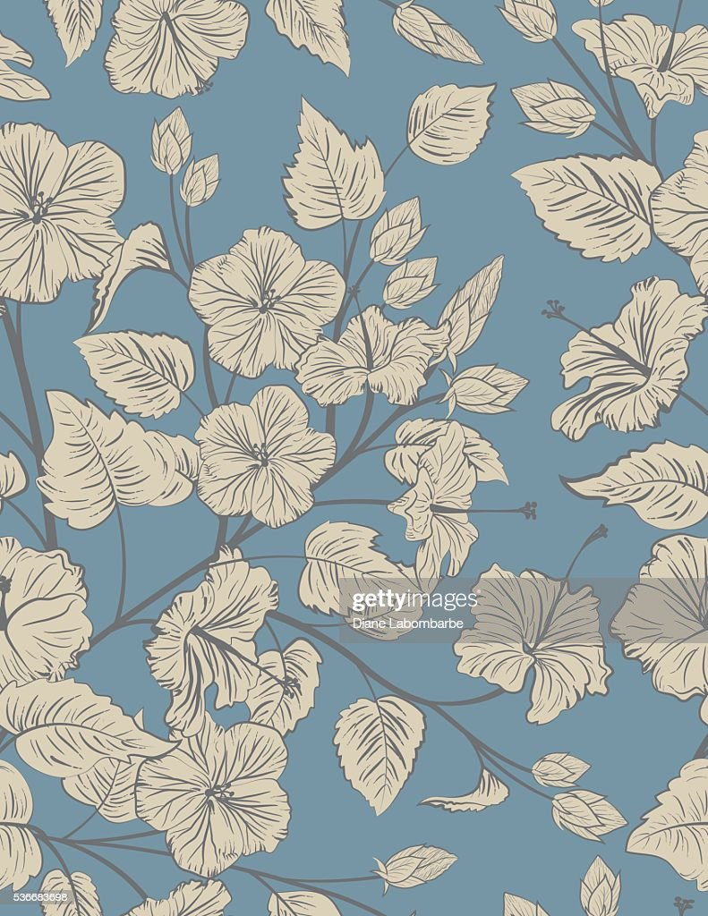 Blue and Taupe Tropical Hibiscus Seamless Pattern Background
