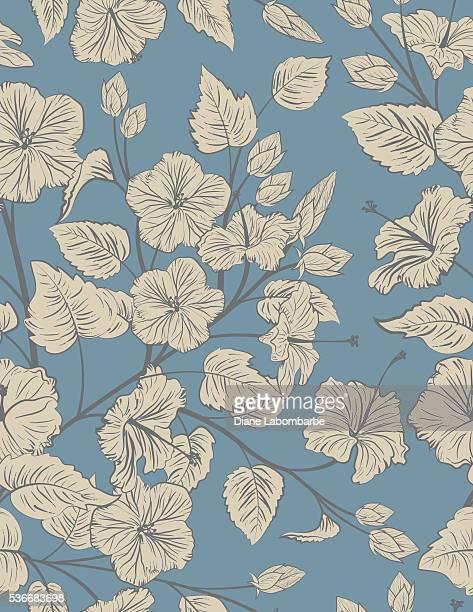 Hibiscus BLEU et Taupe motif uniforme arrière-plan