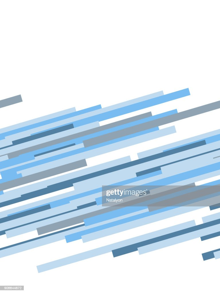 Blue and white abstract dynamic striped seamless border, vector template