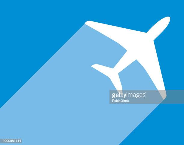 blue and white airplane icon - vapor trail stock illustrations, clip art, cartoons, & icons