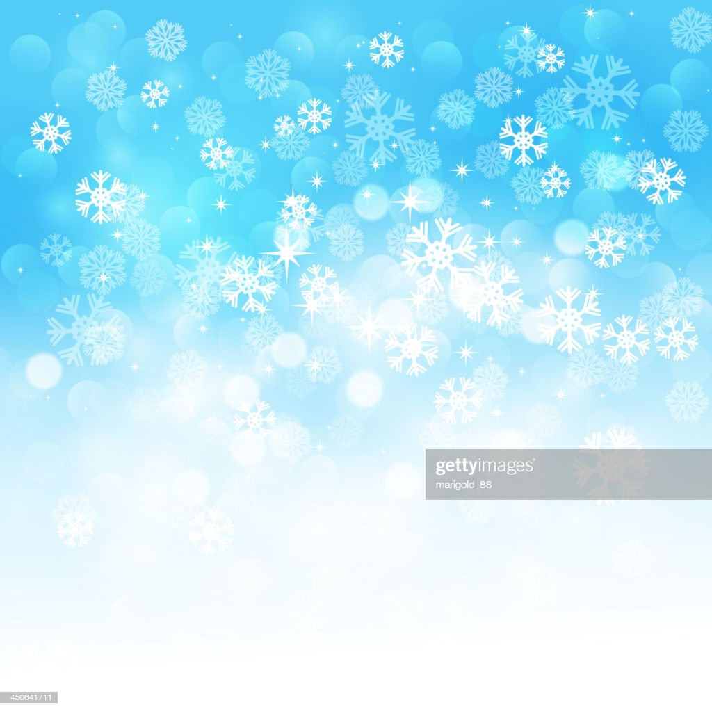 Blue and white background with winter snowflakes