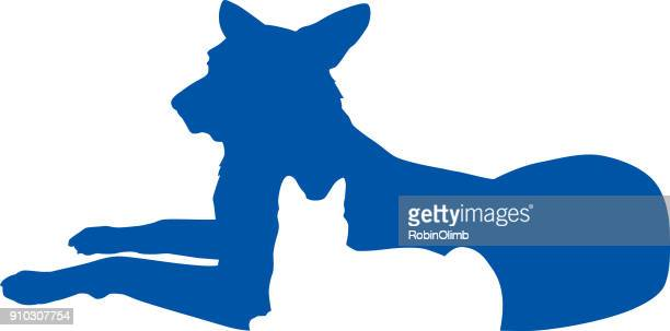 blue and white cat dog icon - two animals stock illustrations