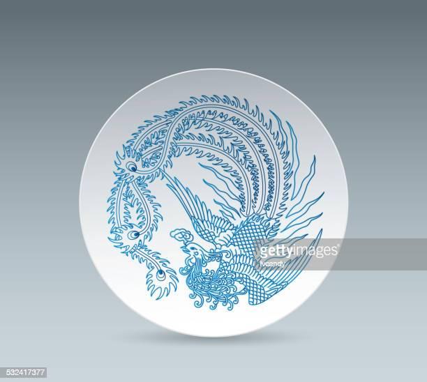 blue and white china plate (phoenix) - ceramics stock illustrations, clip art, cartoons, & icons