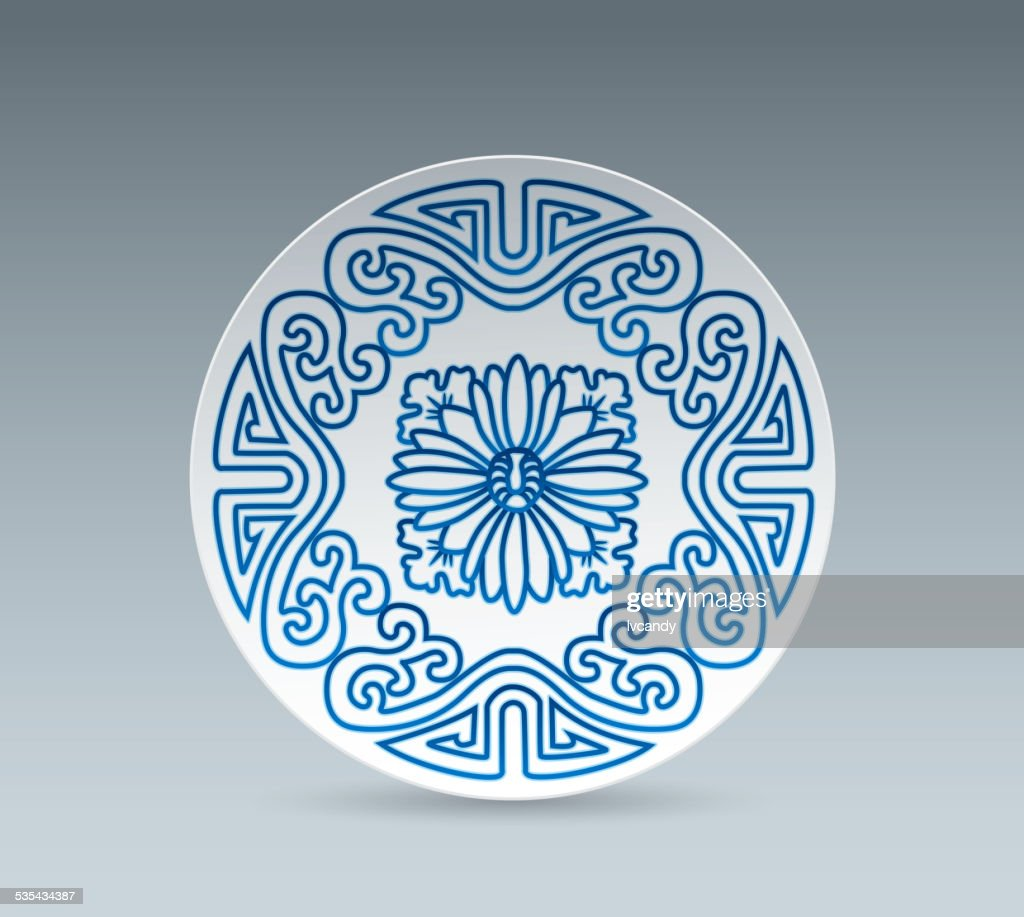 Blue and White China Plate (plant pattern) : stock illustration