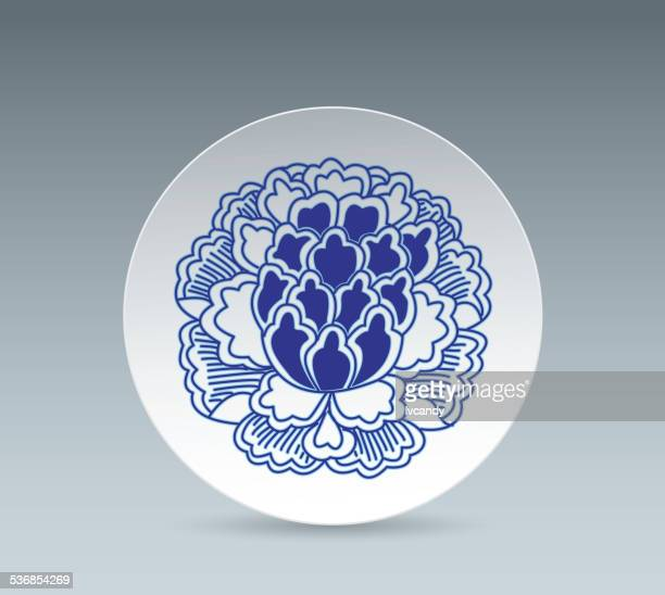 Blue and White China Plate (Peony flower)