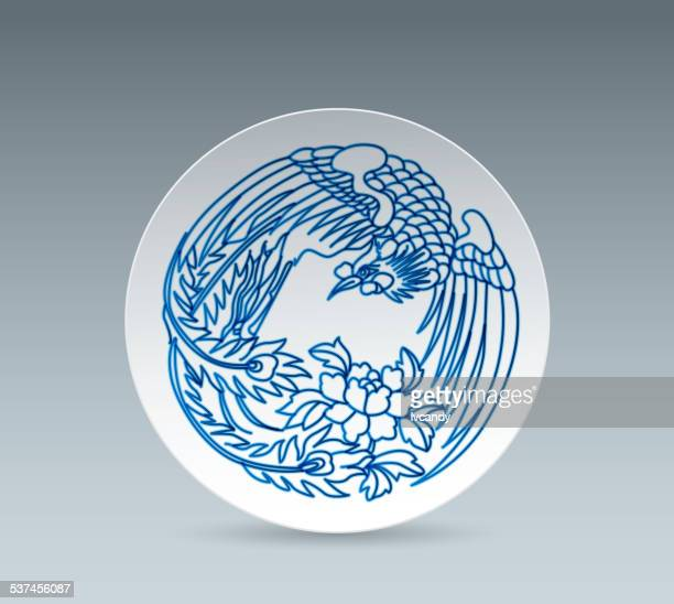 blue and white china plate (phoenix) - glazed food stock illustrations, clip art, cartoons, & icons