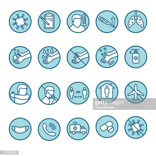 blau und weiß covid-19 krankheit symptome und präventionline-kunst-symbole - hinweisschild stock-grafiken, -clipart, -cartoons und -symbole