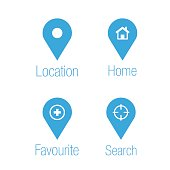Blue and white destination icons