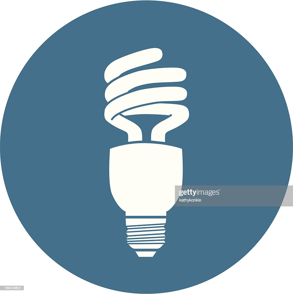 Blue and white energy efficient light bulb icon