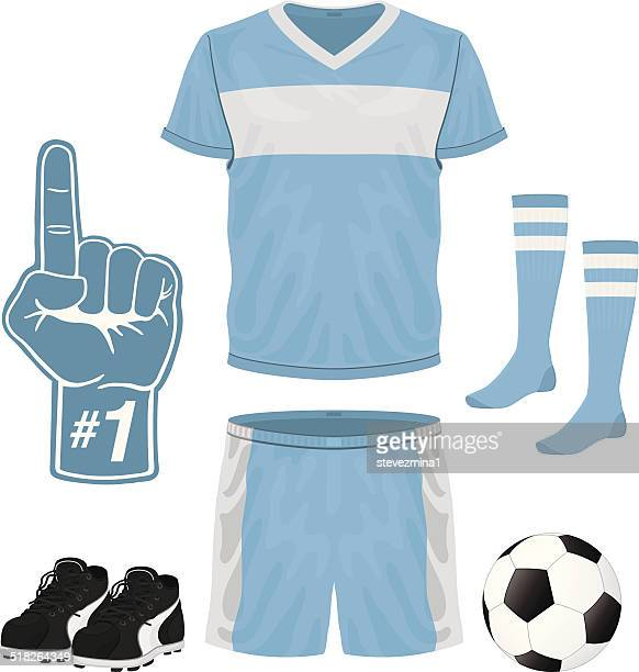 Blue and white foam hand, soccer uniform, shoes and ball