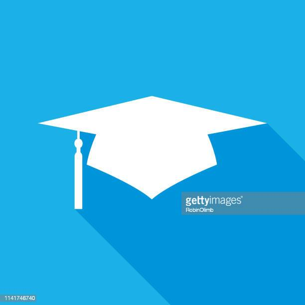 blue and white graduation cap icon - tassel stock illustrations