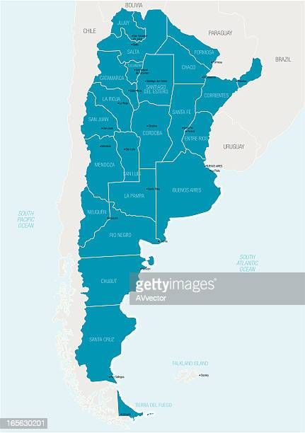 A blue and white graphic map of Argentina
