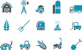 Blue and white icon set representing farming and agriculture