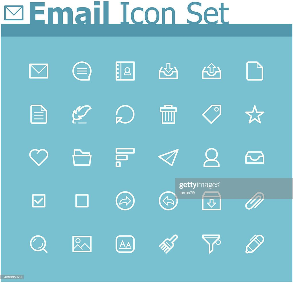 Blue and white icons relating to email