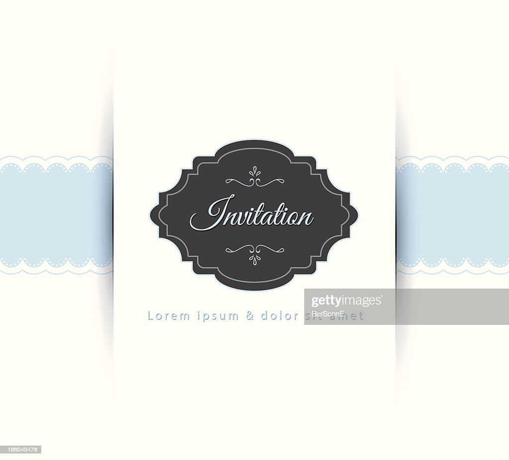 Blue and white illustration of an invitation card