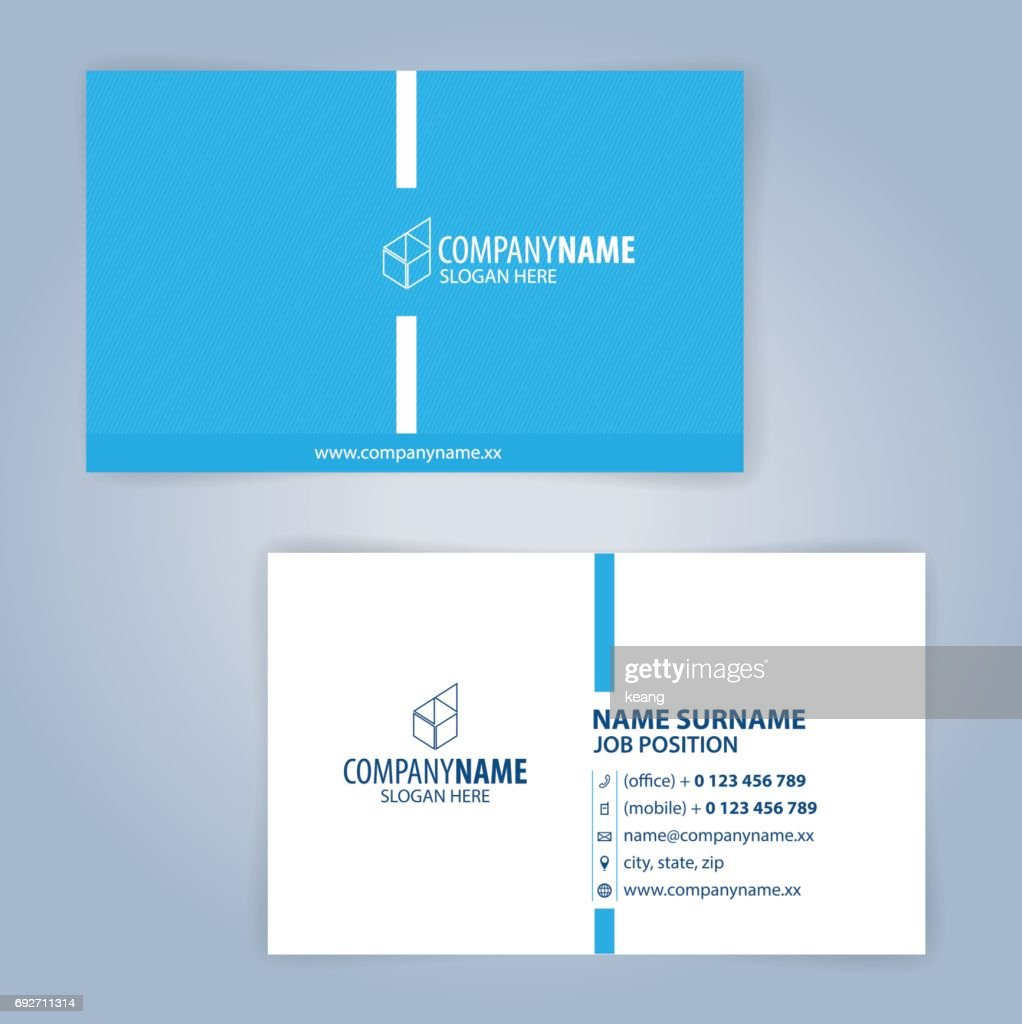Blue and white modern business card template