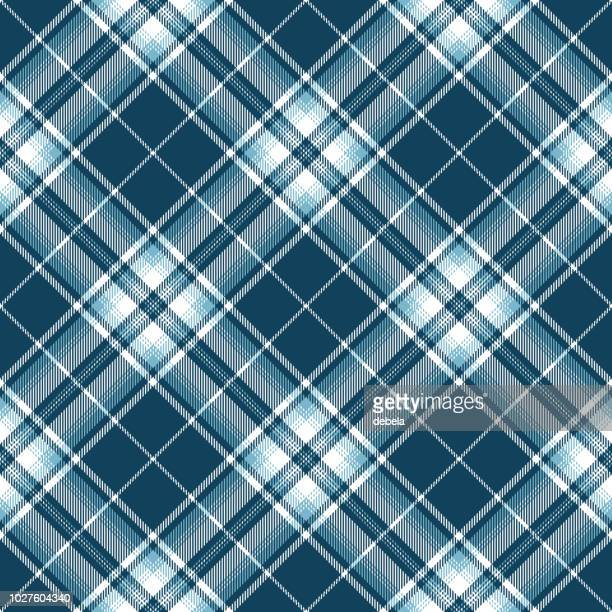 Blue And White Scottish Tartan Plaid Textile Pattern