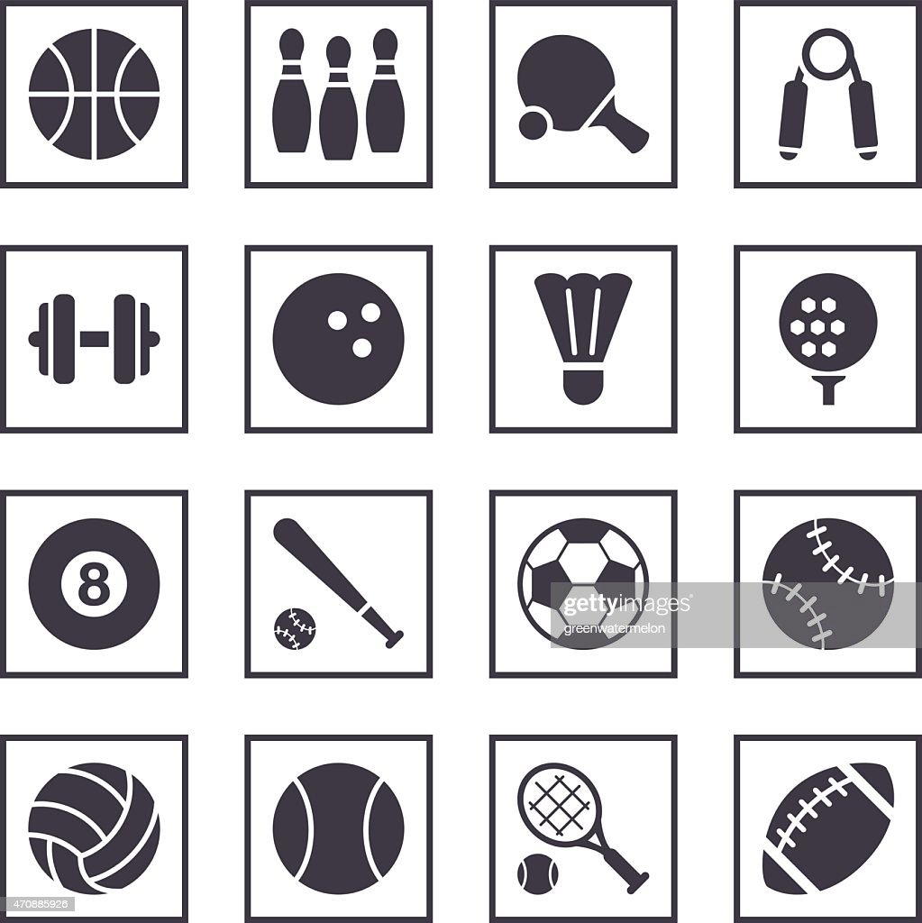 16 Blue and White Sport symbol icons