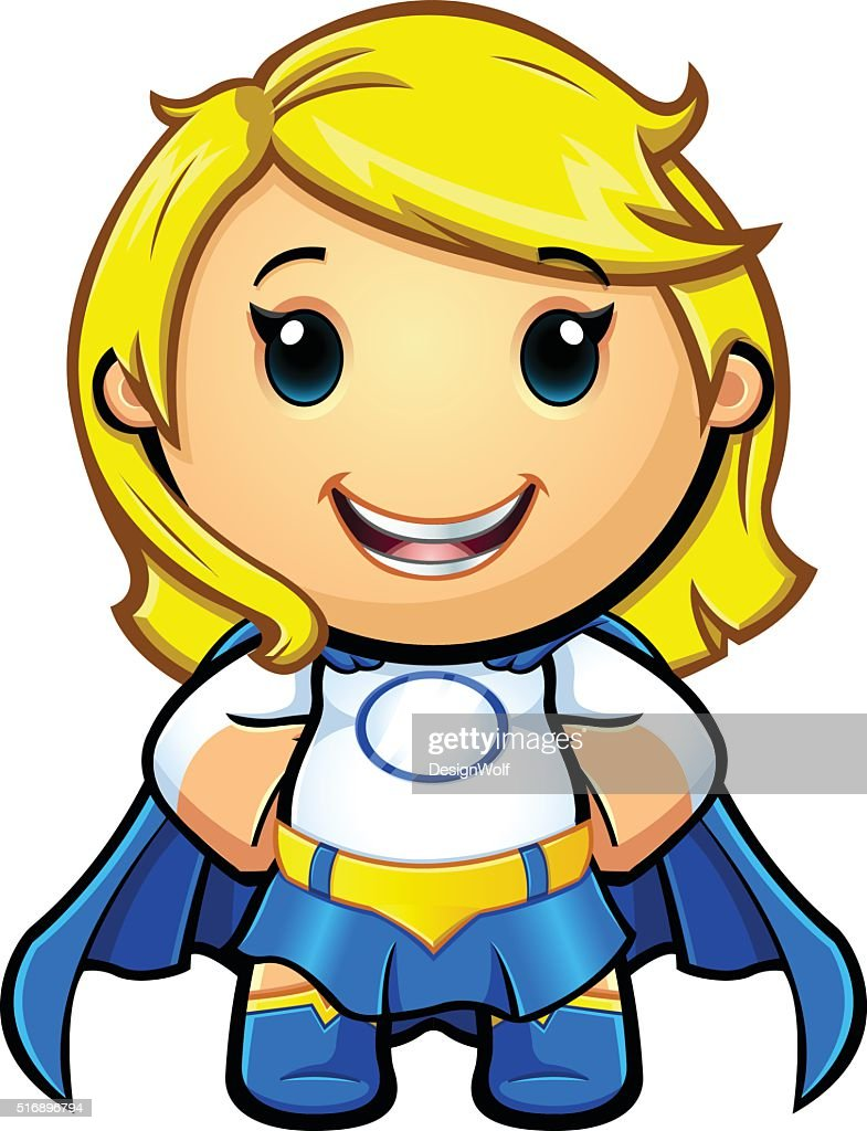 Blue And White Super Girl - Hands On Hips