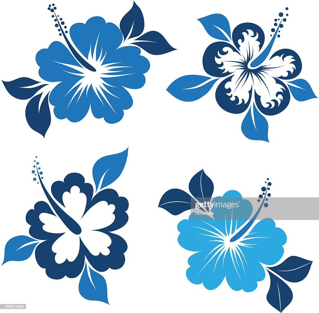 Blue and white themed illustrated hibiscuses