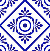 blue and white tile pattern vector