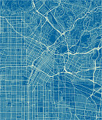 Blue and White vector city map of Los Angeles with well organized separated layers.