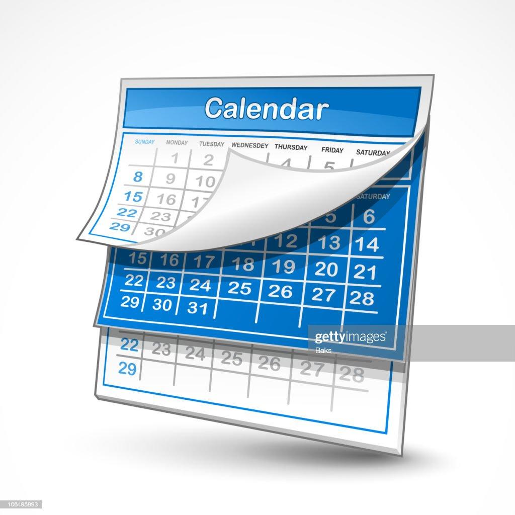 A blue and white wall calendar