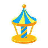 Blue And Yello Merry-Go-Round, Fairy Tale Candy Land Fair Landscaping Element In Childish Colorful Design Isolated Object