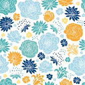 Blue and yellow flowersilhouettes seamless pattern background