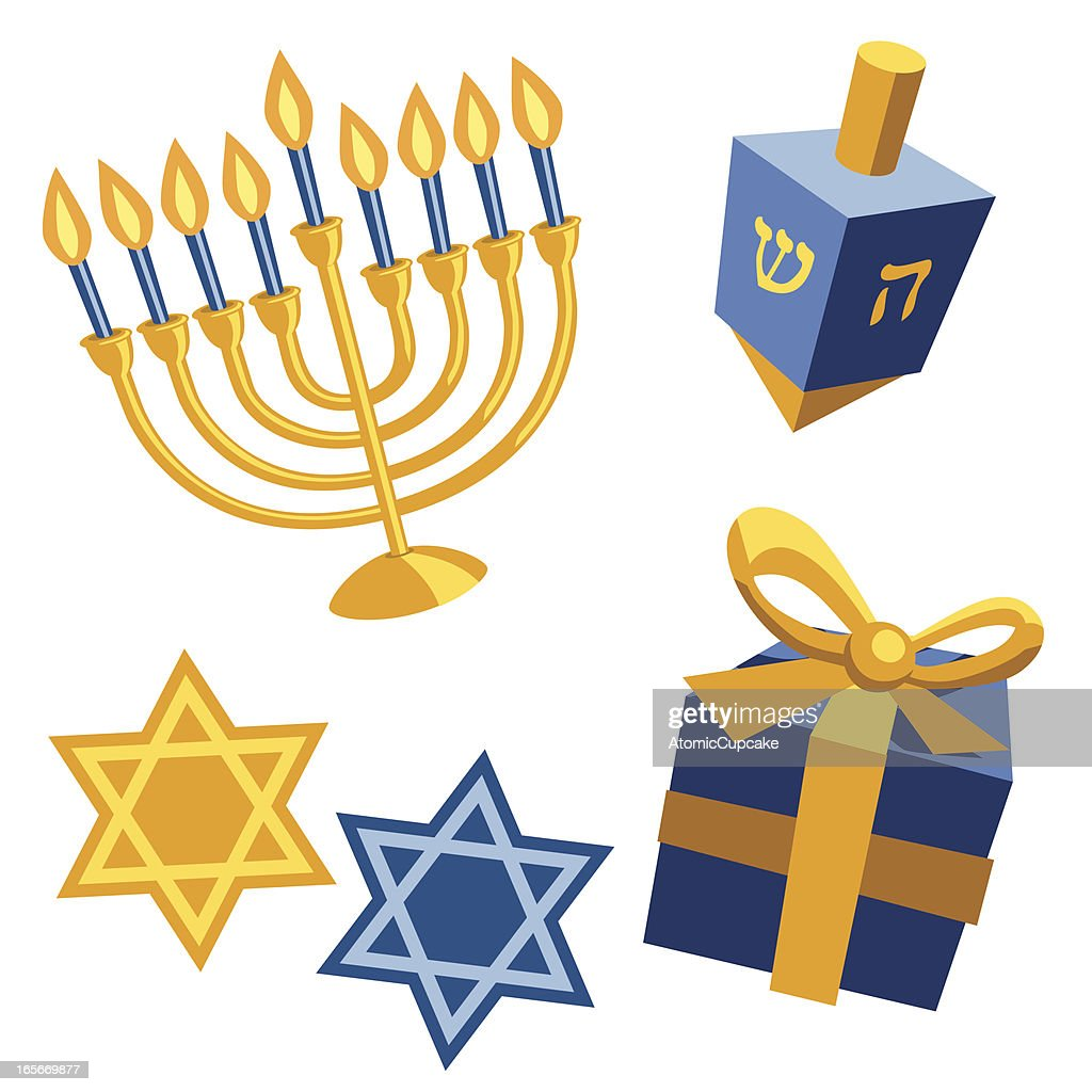 Blue and yellow Hanukkah templates on white background : stock illustration