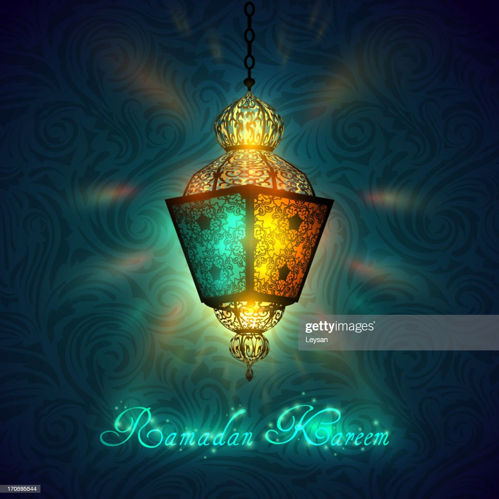 Blue and yellow Ramadan Kareem greeting card with lantern