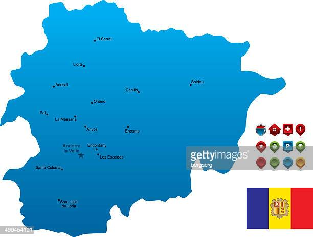 blue andorra map - andorra stock illustrations
