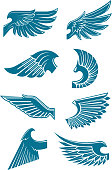 Blue angel or bird wings icons for heraldic design