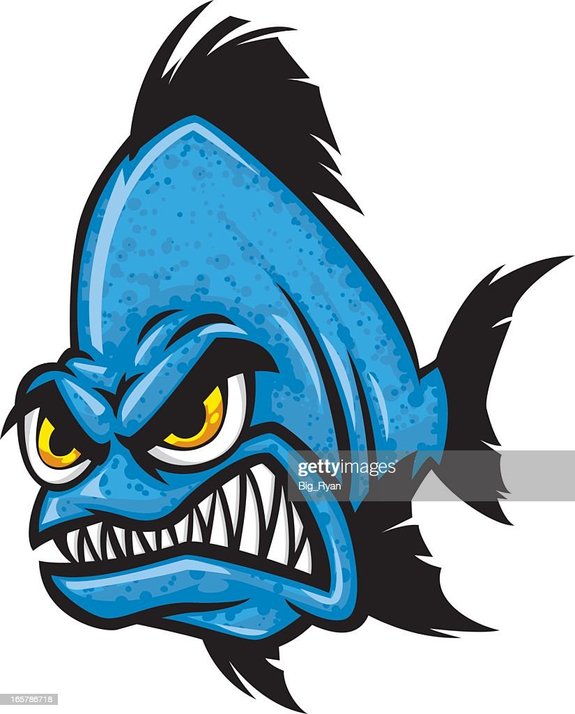 Blue Angry Cartoon Fish With Yellow Eyes Gritting Teeth ...
