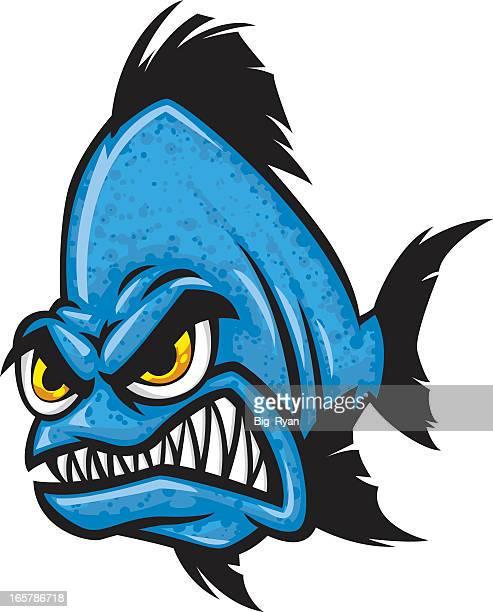 Blue angry cartoon fish with yellow eyes gritting teeth