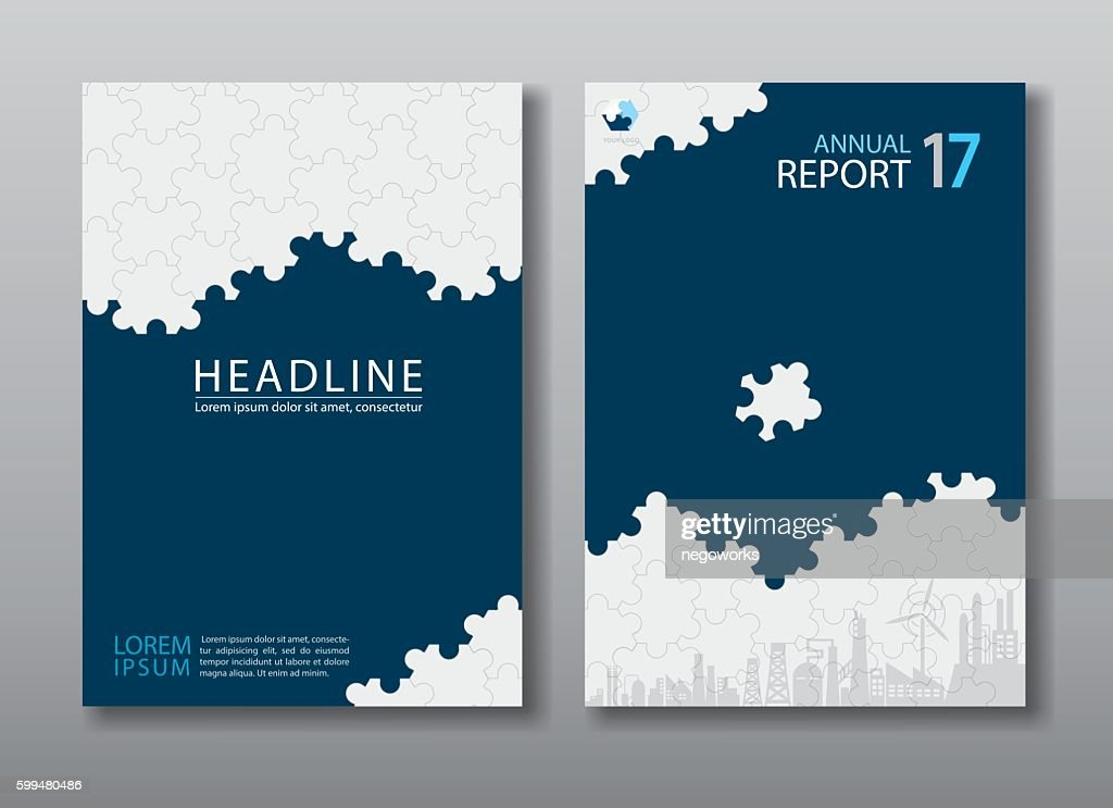 Blue annual report brochure flyer design template.
