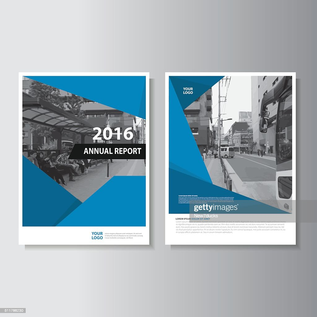 Blue annual report leaflet flyer brochure book cover template design