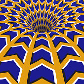 Blue arrows hole. Optical motion illusion illustration.