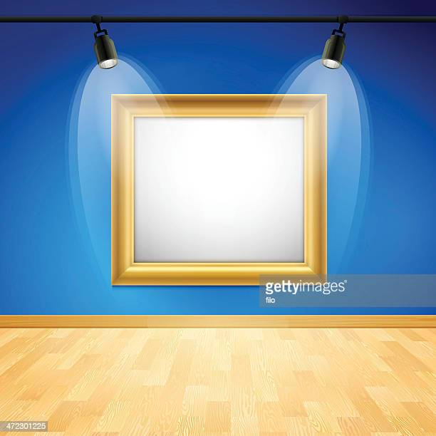 blue art gallery frame - hardwood floor stock illustrations, clip art, cartoons, & icons
