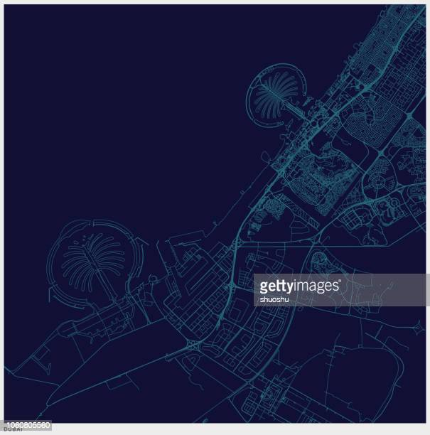 blue art illustration style dubai map - famous place stock illustrations