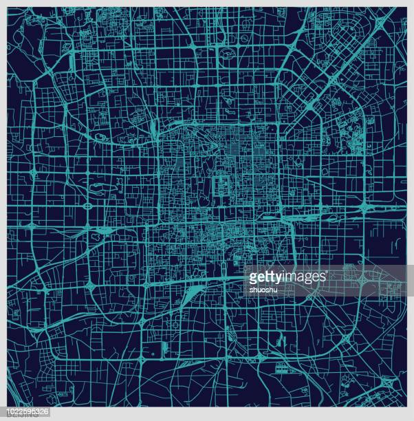 blue art illustration style map of Beijing